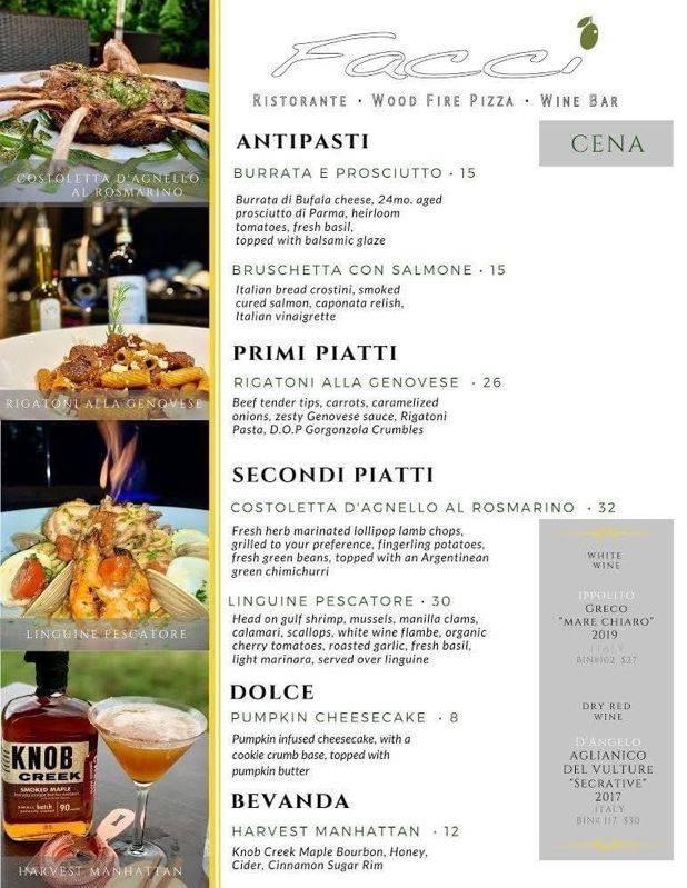 Facci Restaurant Menu